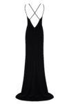 Long black evening dress with a cut