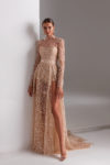 Prom dress with sparkling skirt and long sleeves