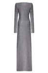 Silver long gown with a V-neck line and long sleeves