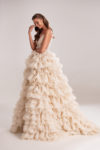 Creamy Evening Ball Gown with Ruffles