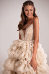 Sparkly frill-layered flared dress
