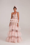One-shoulder dress with ruffled tulle skirt
