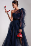 One-shoulder gown with ruffled tulle skirt