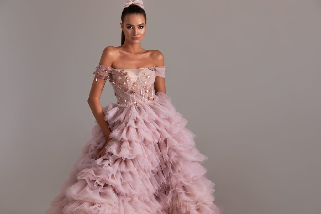 Evening Gown Pink Blush with Ruffles