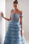 Blue Evening Prom Gown with Ruffles