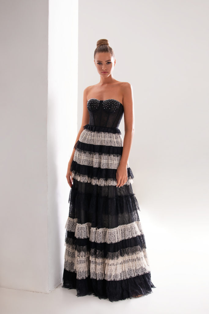 Evening Gown Black&White with Ruffles