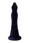Long classy velvet dress with plunge neckline and front slit