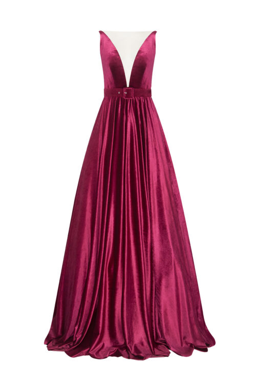 Velvet gown with a train