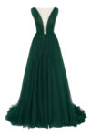 Evening open back gown with long skirt and train