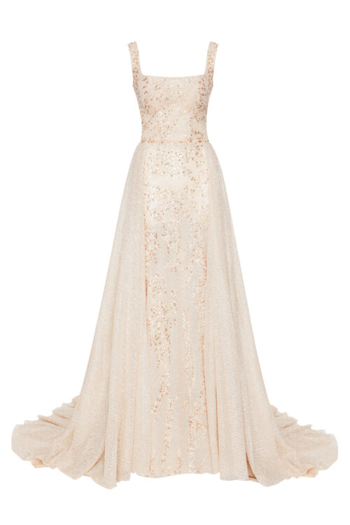 Long lace dress with detachable train