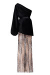 One-shoulder top with puffy sleeve and nude pants