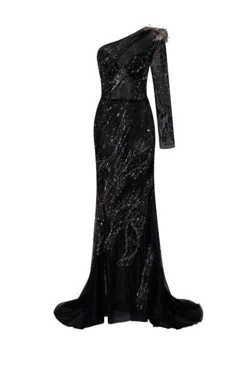 One-sleeved long couture evening dress