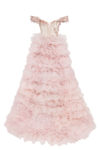 Romantic gown with a sparkly frill-layered tulle skirt