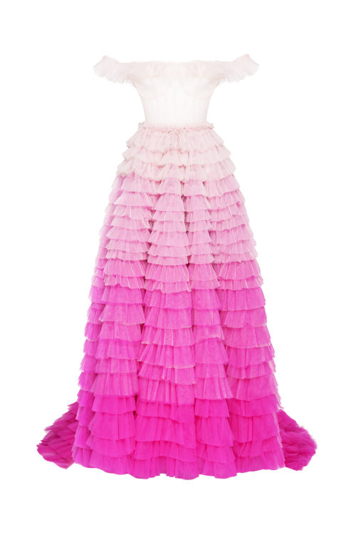 Frill-layered ombré gown with back cascading ruffle