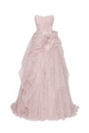 Blush strapless gown with cascading skirt and train