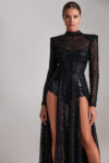 Long sequenced lace dress with sleeves, open back and bodysuit