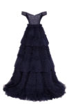Long raffled navy prom dress with off-shoulders, open back and gorgeous corset
