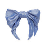 Sky blue silk headband with a bow