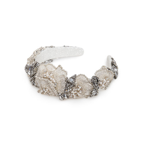 Headband with floral alike crystals