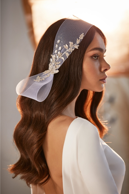 Headpiece with floral beading