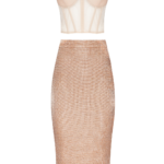 Lurex co-ord set in beige