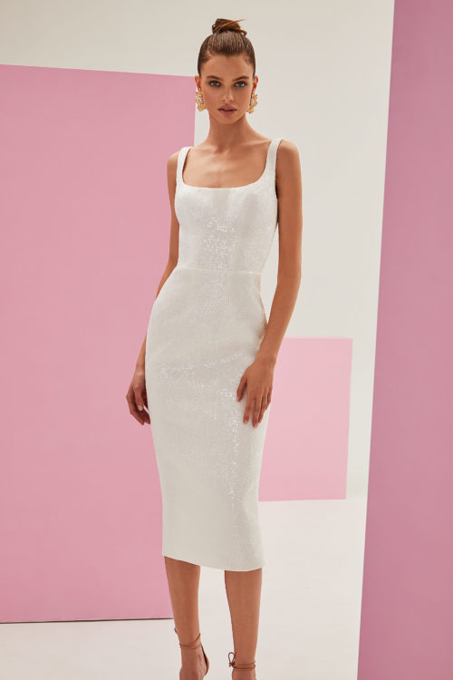 White sequin midi dress