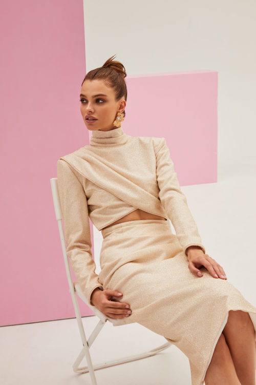 Long-sleeved crop top and midi pencil skirt lurex co-ord set in ivory