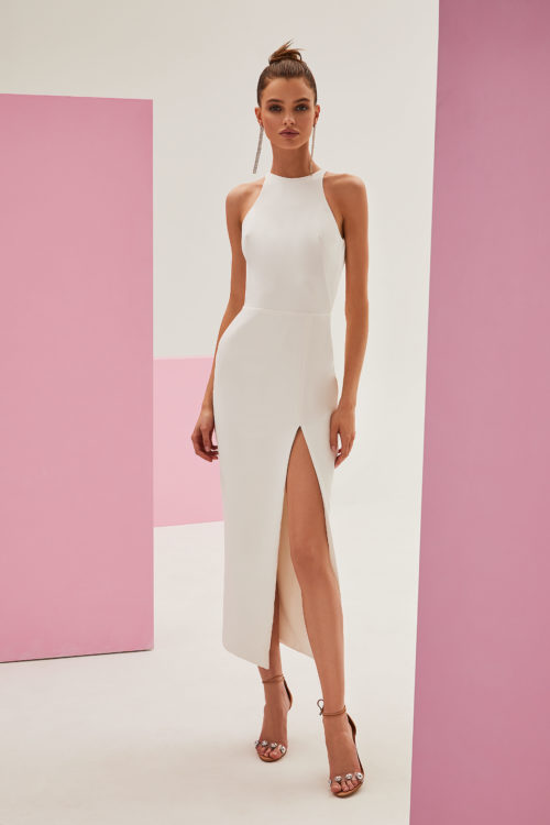 Mock neck sleeveless bodycon dress