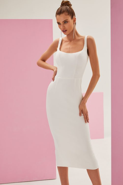 Classy white midi dress with a square neckline