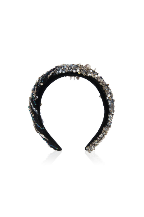 Black headband with pearls and sequins