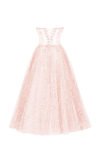 Midi dress with corset and puffy skirt in misty rose