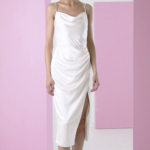 White cowl neck midi slip dress