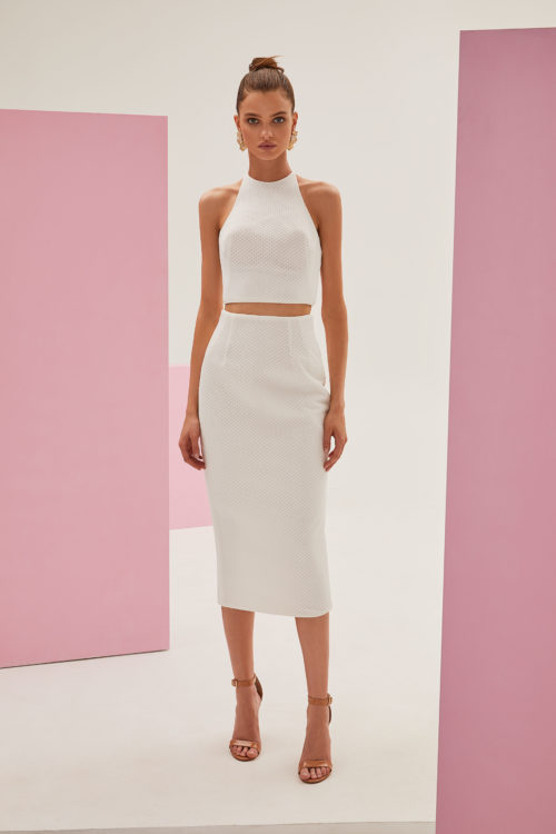 White crop top and high waisted midi skirt