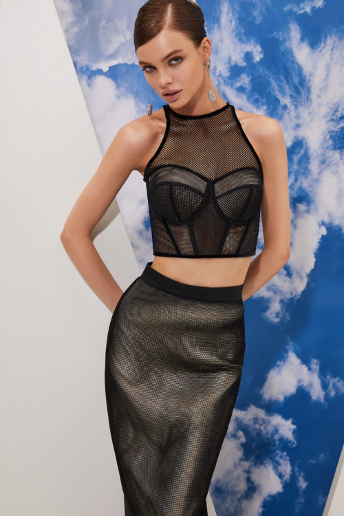 Sheer lace and mesh bustier crop top