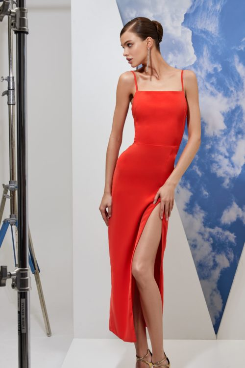 Red spaghetti strap bodycon midi dress