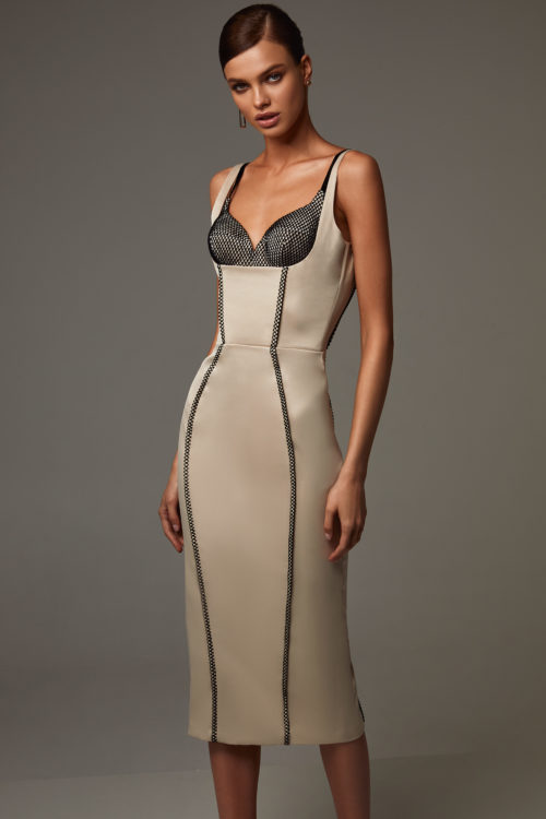 Midi body-con dress with a deep square neck
