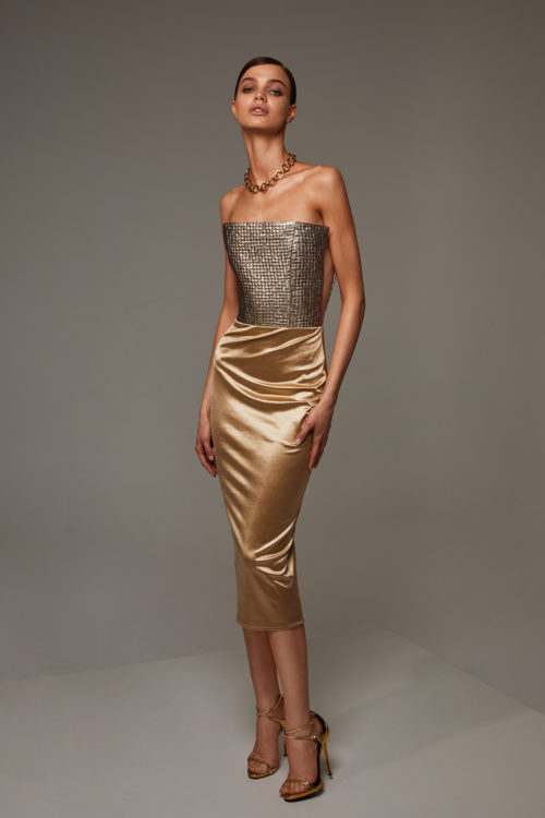 Combination dress in gold