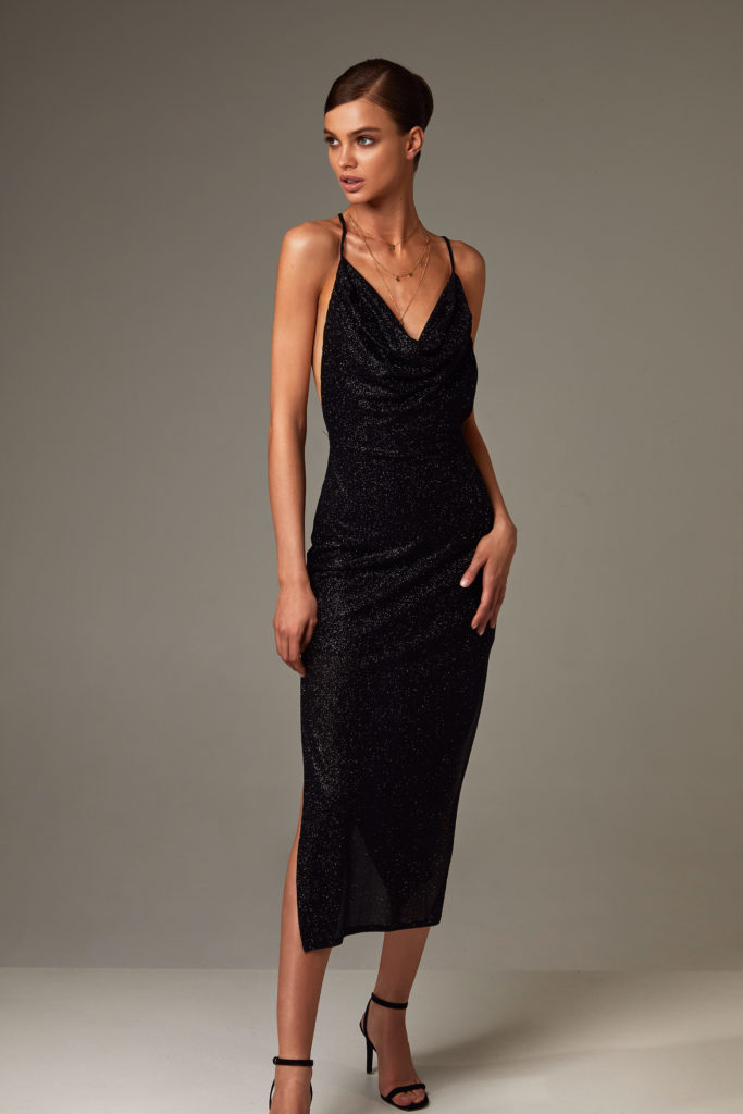 Black Elegant Evening Sequin Dress