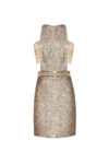 Gold embossed mini dress