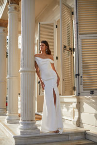 Long White Engagement Dress with Sleeves Milla Nova White and Lace