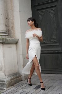 Engagement Dress with Feathers