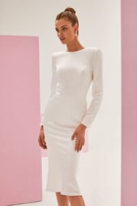 White Engagement Dress with Sleeves